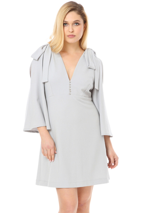 Sukienka z kokardkami jasno szara PROJEKTANT VerityHunt