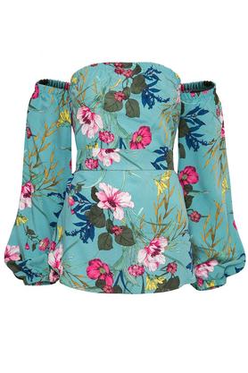 Bluzka w Kwiaty z Odsłoniętymi Ramionami Niebieska PROJEKTANT Kasia Miciak