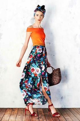 Spódnica Maxi w Malowane Kwiaty PROJEKTANT Kasia Miciak
