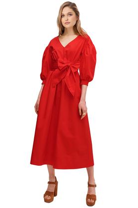 Sukienka midi bufiaste rękawy z bawełny czerwona PROJEKTANT VerityHunt