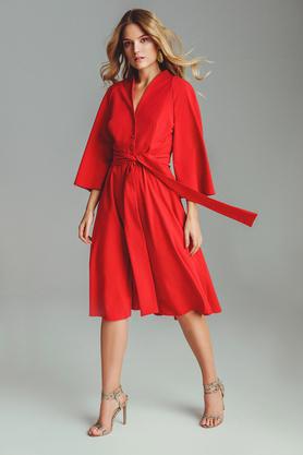 Sukienka midi z guzikami czerwona PROJEKTANT VerityHunt