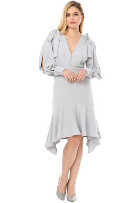Sukienka z asymetryczną falbaną jasno szara PROJEKTANT VerityHunt
