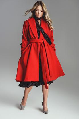 Płaszcz wełniany czerwony PROJEKTANT VerityHunt