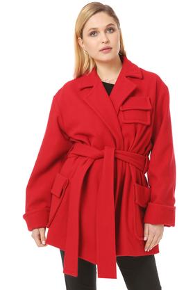 Płaszcz wełniany z kieszeniami czerwony PROJEKTANT VerityHunt