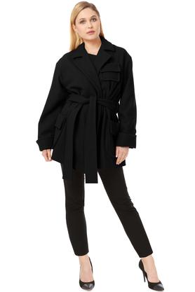 Płaszcz wełniany z kieszeniami czarny PROJEKTANT VerityHunt