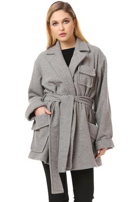 Płaszcz wełniany z kieszeniami jasno szary PROJEKTANT VerityHunt